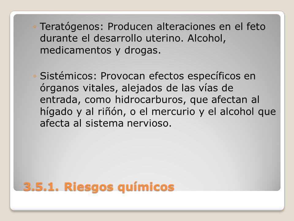3.5.1. Riesgos químicos 3.5.1. Riesgos químicos Teratógenos: Producen alteraciones en el feto durante el desarrollo uterino. Alcohol, medicamentos y d