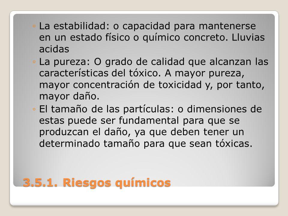 3.5.1. Riesgos químicos 3.5.1. Riesgos químicos La estabilidad: o capacidad para mantenerse en un estado físico o químico concreto. Lluvias acidas La