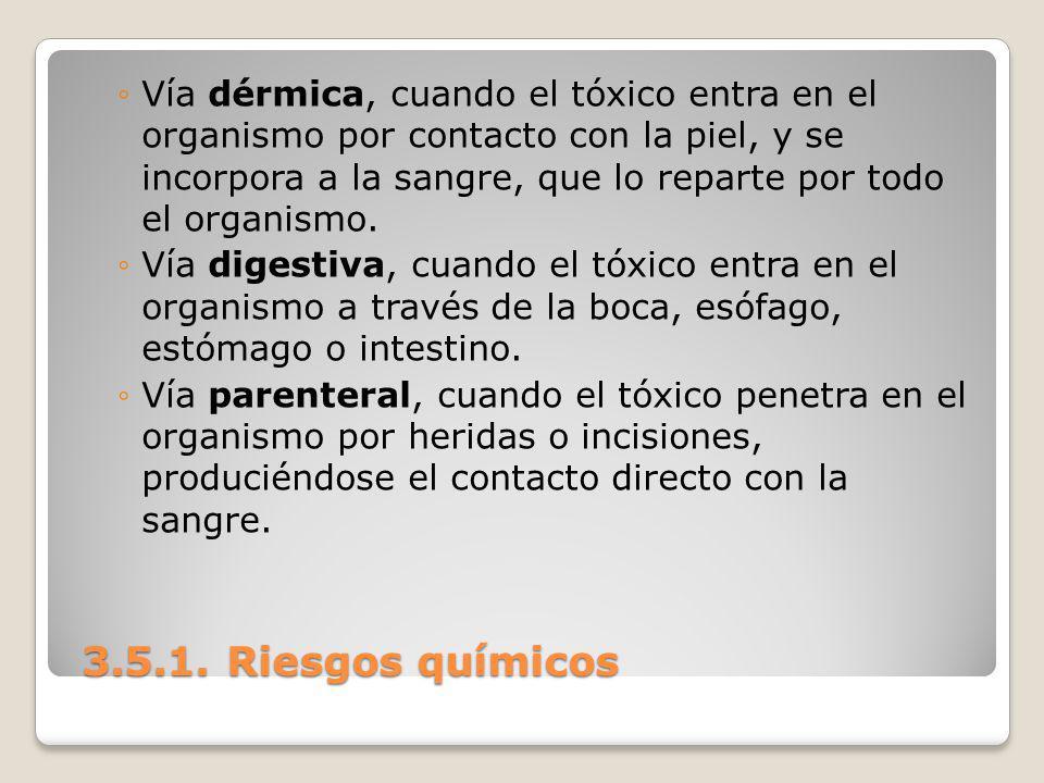3.5.1. Riesgos químicos 3.5.1. Riesgos químicos Vía dérmica, cuando el tóxico entra en el organismo por contacto con la piel, y se incorpora a la sang