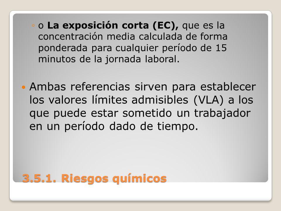 3.5.1. Riesgos químicos 3.5.1. Riesgos químicos o La exposición corta (EC), que es la concentración media calculada de forma ponderada para cualquier