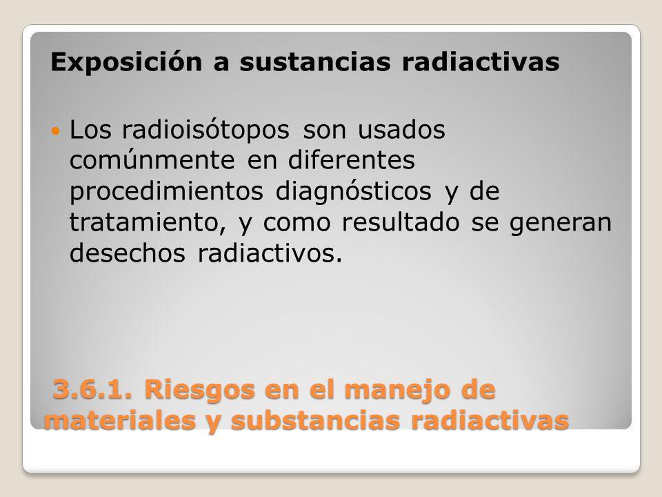 3.6.1. Riesgos en el manejo de materiales y substancias radiactivas 3.6.1. Riesgos en el manejo de materiales y substancias radiactivas Exposición a s