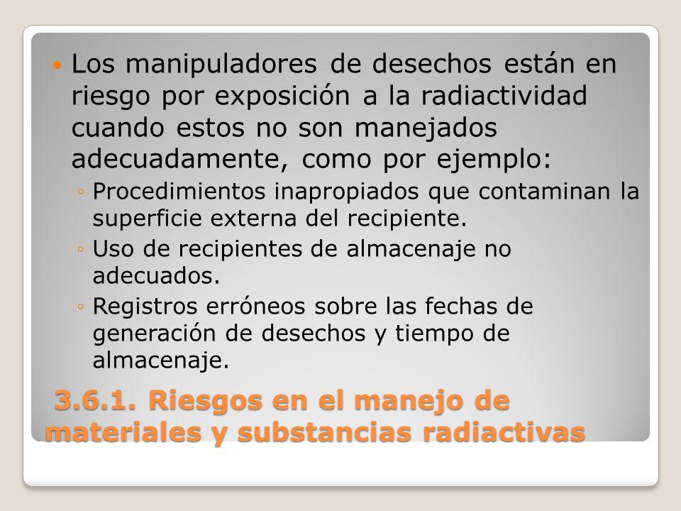 3.6.1. Riesgos en el manejo de materiales y substancias radiactivas 3.6.1. Riesgos en el manejo de materiales y substancias radiactivas Los manipulado