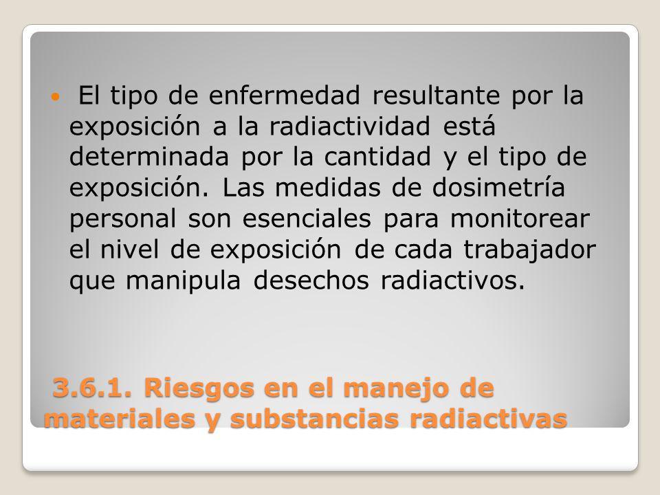 3.6.1. Riesgos en el manejo de materiales y substancias radiactivas 3.6.1. Riesgos en el manejo de materiales y substancias radiactivas El tipo de enf