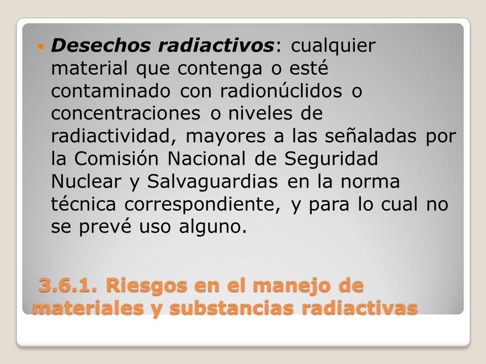 3.6.1. Riesgos en el manejo de materiales y substancias radiactivas 3.6.1. Riesgos en el manejo de materiales y substancias radiactivas Desechos radia