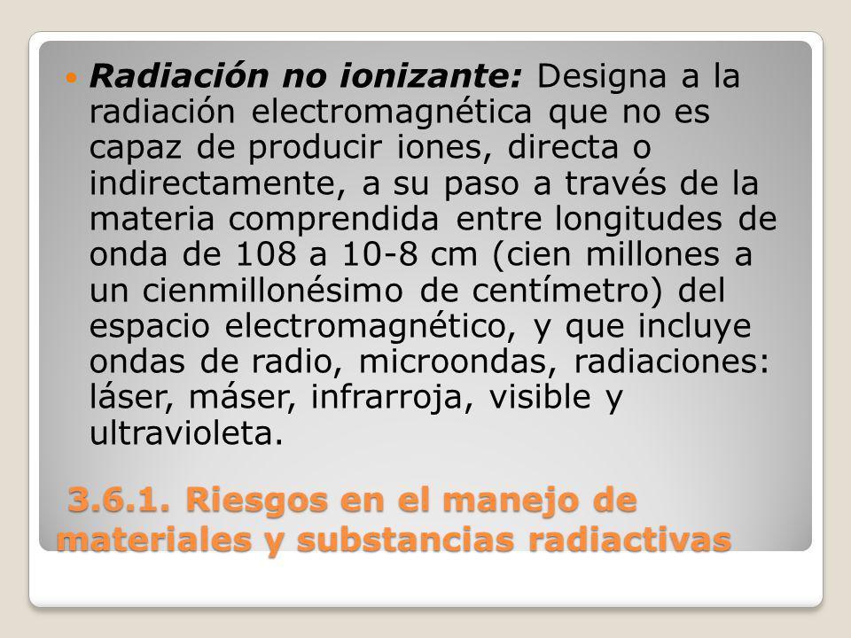3.6.1. Riesgos en el manejo de materiales y substancias radiactivas 3.6.1. Riesgos en el manejo de materiales y substancias radiactivas Radiación no i