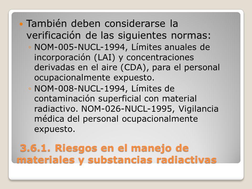 3.6.1. Riesgos en el manejo de materiales y substancias radiactivas 3.6.1. Riesgos en el manejo de materiales y substancias radiactivas También deben