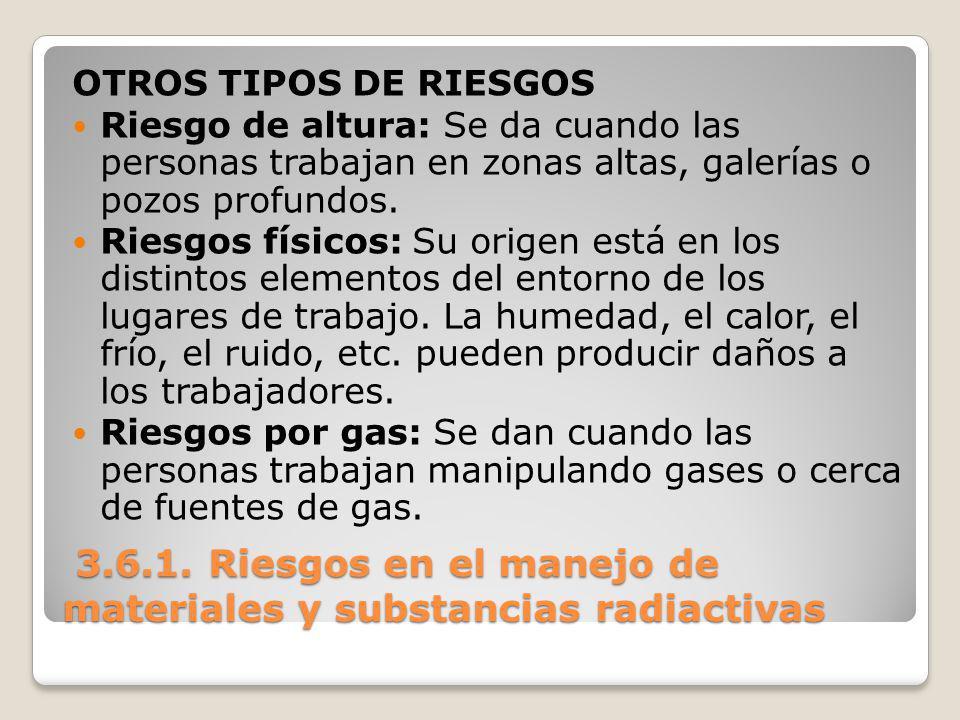 3.6.1. Riesgos en el manejo de materiales y substancias radiactivas 3.6.1. Riesgos en el manejo de materiales y substancias radiactivas OTROS TIPOS DE