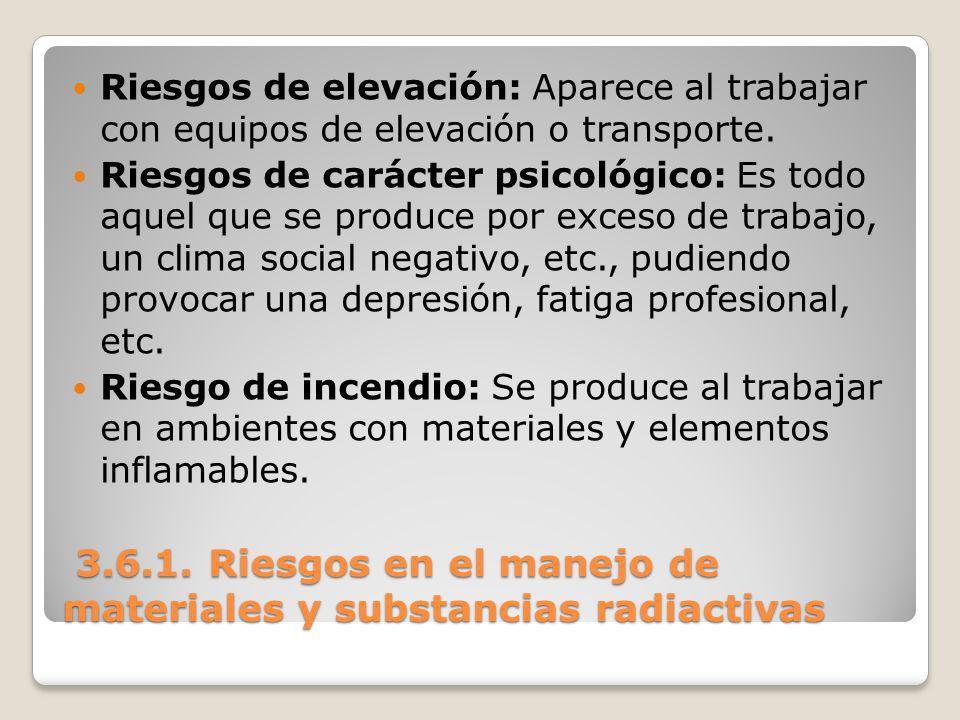 3.6.1. Riesgos en el manejo de materiales y substancias radiactivas 3.6.1. Riesgos en el manejo de materiales y substancias radiactivas Riesgos de ele