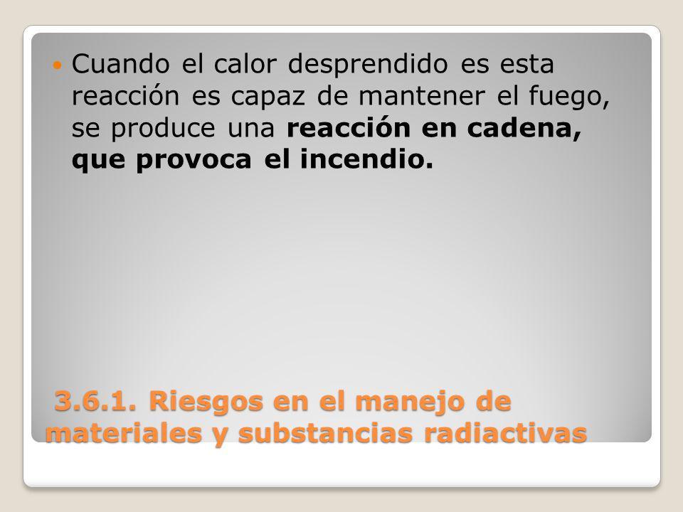 3.6.1. Riesgos en el manejo de materiales y substancias radiactivas 3.6.1. Riesgos en el manejo de materiales y substancias radiactivas Cuando el calo