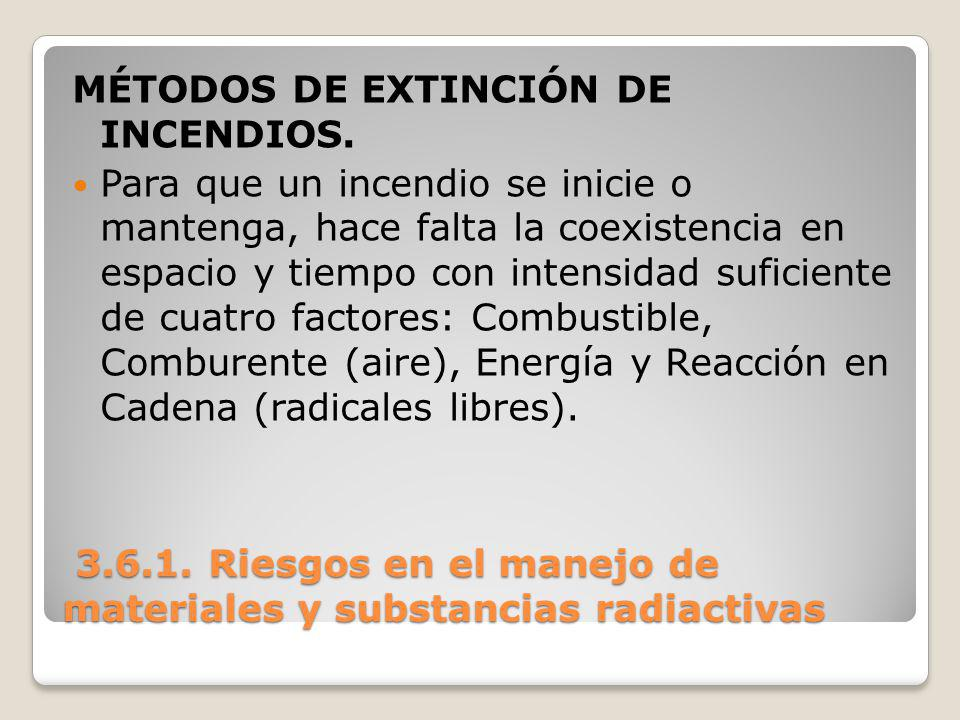 3.6.1. Riesgos en el manejo de materiales y substancias radiactivas 3.6.1. Riesgos en el manejo de materiales y substancias radiactivas MÉTODOS DE EXT