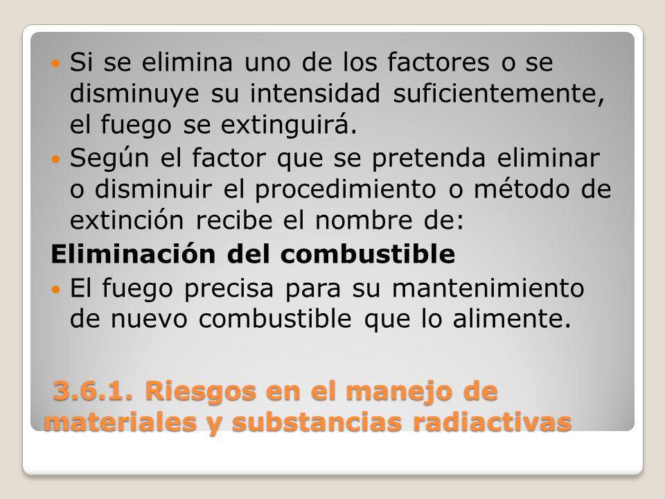 3.6.1. Riesgos en el manejo de materiales y substancias radiactivas 3.6.1. Riesgos en el manejo de materiales y substancias radiactivas Si se elimina