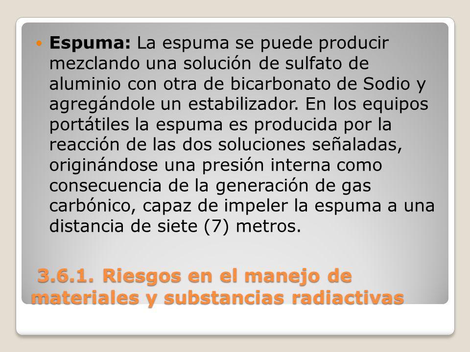 3.6.1. Riesgos en el manejo de materiales y substancias radiactivas 3.6.1. Riesgos en el manejo de materiales y substancias radiactivas Espuma: La esp