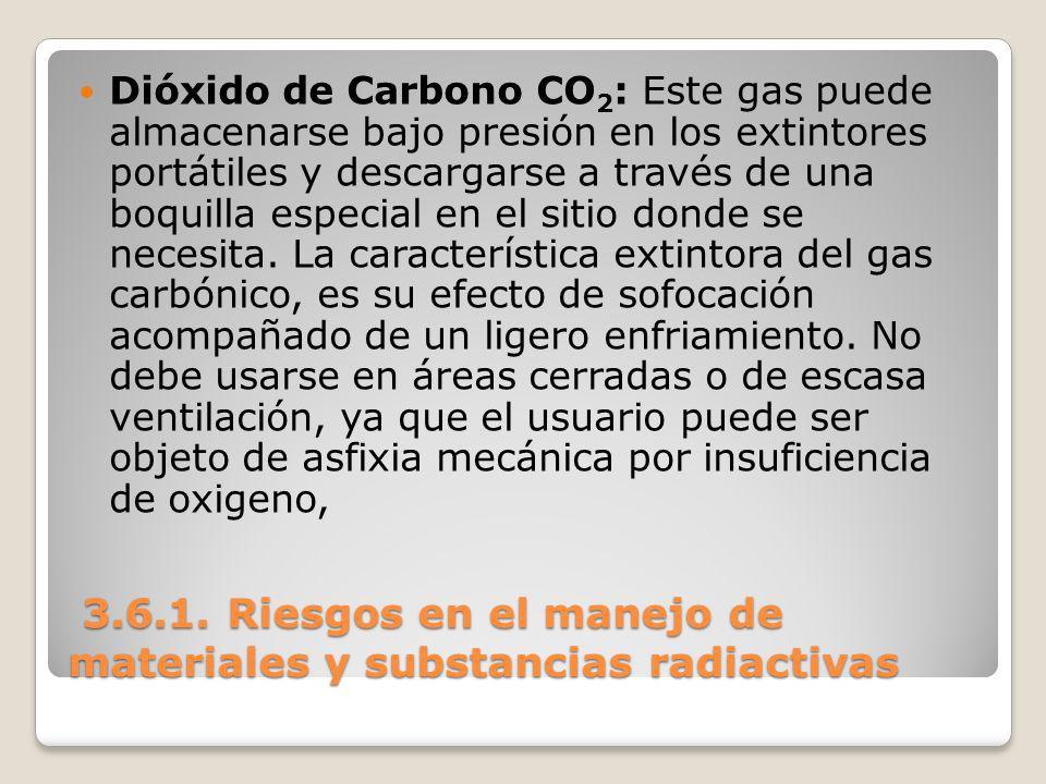 3.6.1. Riesgos en el manejo de materiales y substancias radiactivas 3.6.1. Riesgos en el manejo de materiales y substancias radiactivas Dióxido de Car