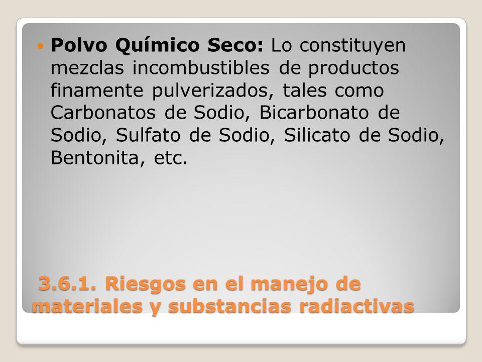 3.6.1. Riesgos en el manejo de materiales y substancias radiactivas 3.6.1. Riesgos en el manejo de materiales y substancias radiactivas Polvo Químico