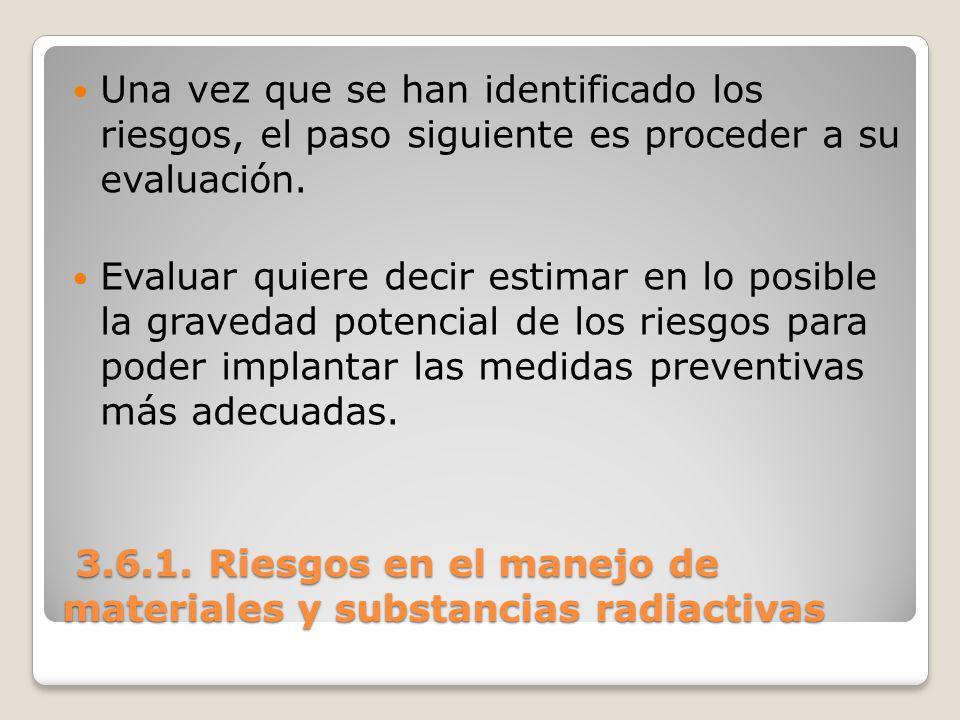 3.6.1. Riesgos en el manejo de materiales y substancias radiactivas 3.6.1. Riesgos en el manejo de materiales y substancias radiactivas Una vez que se