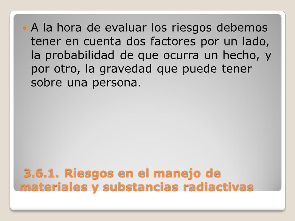3.6.1. Riesgos en el manejo de materiales y substancias radiactivas 3.6.1. Riesgos en el manejo de materiales y substancias radiactivas A la hora de e