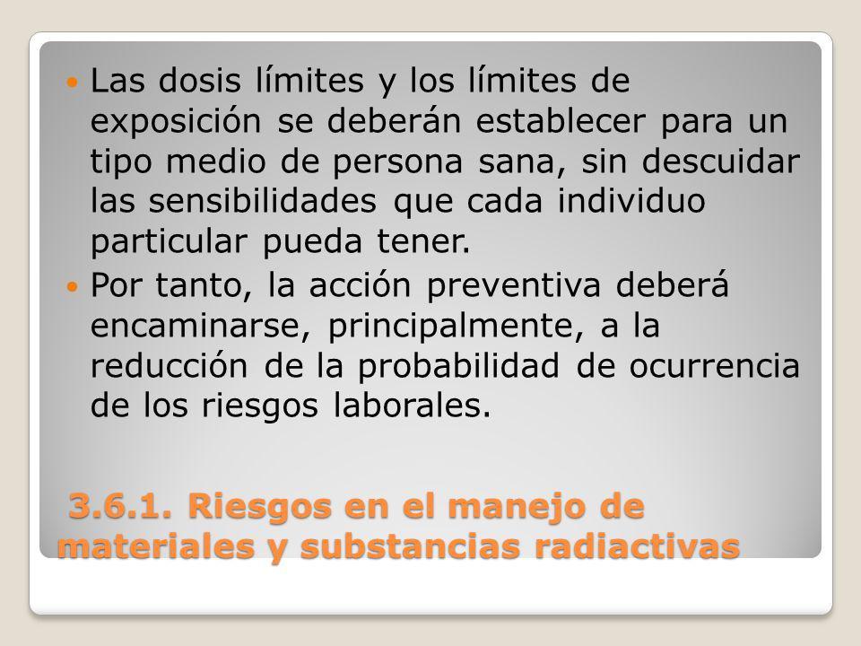 3.6.1. Riesgos en el manejo de materiales y substancias radiactivas 3.6.1. Riesgos en el manejo de materiales y substancias radiactivas Las dosis lími