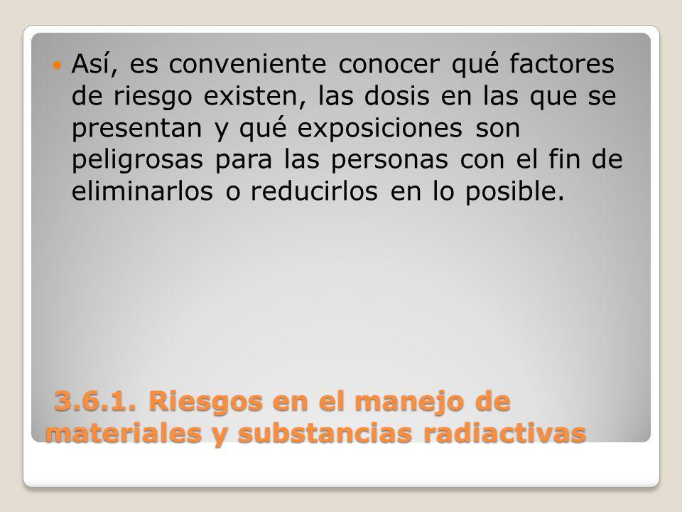 3.6.1. Riesgos en el manejo de materiales y substancias radiactivas 3.6.1. Riesgos en el manejo de materiales y substancias radiactivas Así, es conven