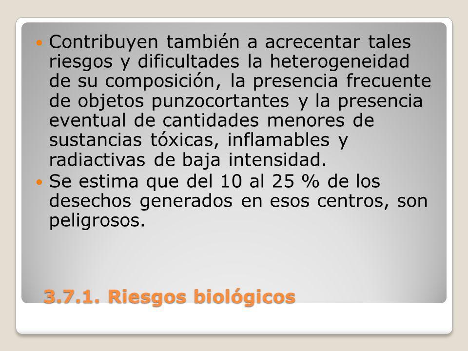 3.7.1. Riesgos biológicos 3.7.1. Riesgos biológicos Contribuyen también a acrecentar tales riesgos y dificultades la heterogeneidad de su composición,