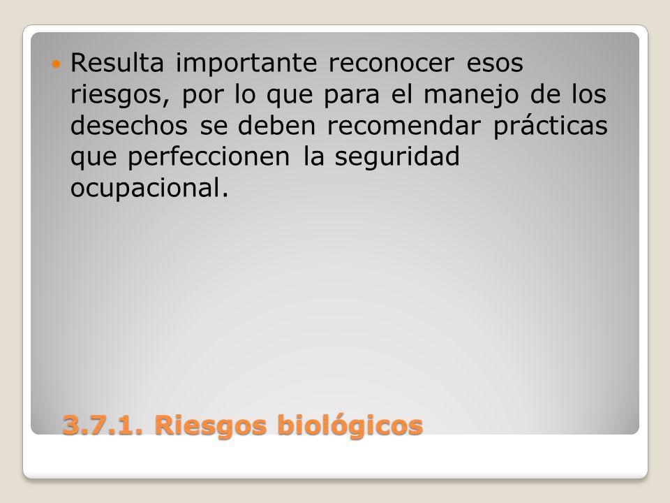 3.7.1. Riesgos biológicos 3.7.1. Riesgos biológicos Resulta importante reconocer esos riesgos, por lo que para el manejo de los desechos se deben reco