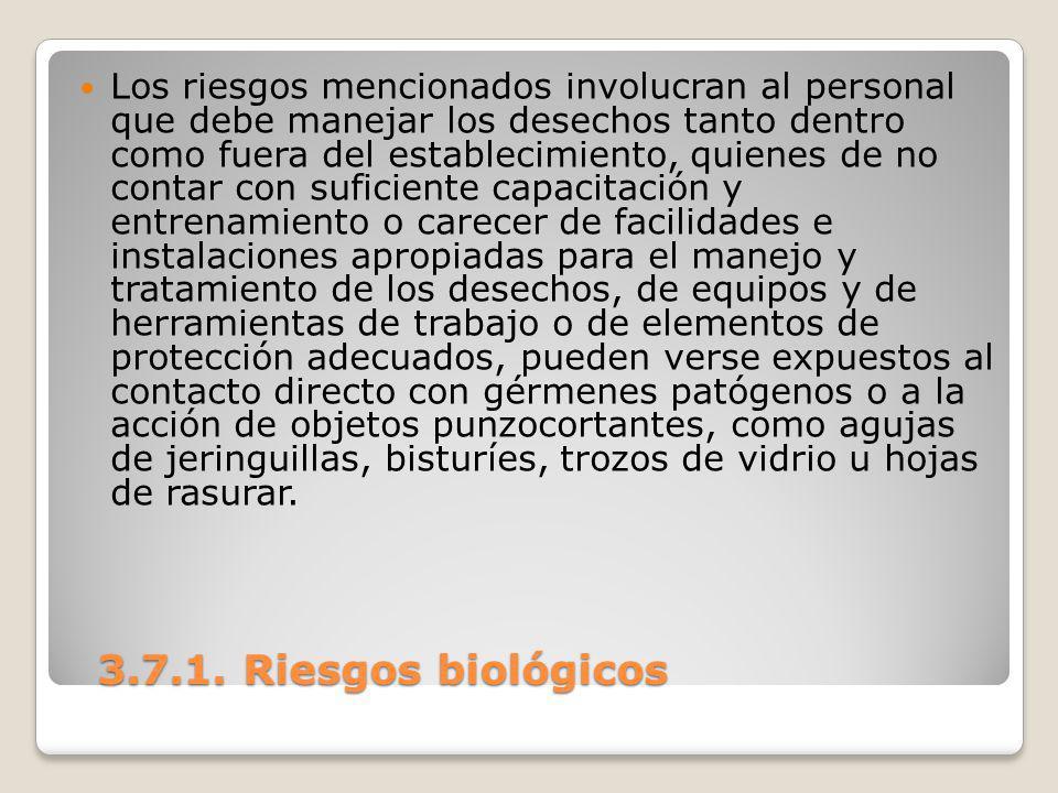 3.7.1. Riesgos biológicos 3.7.1. Riesgos biológicos Los riesgos mencionados involucran al personal que debe manejar los desechos tanto dentro como fue
