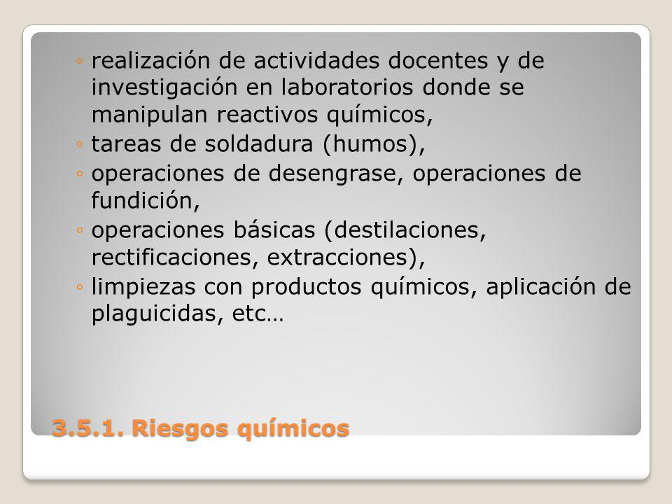 3.5.1. Riesgos químicos 3.5.1. Riesgos químicos realización de actividades docentes y de investigación en laboratorios donde se manipulan reactivos qu