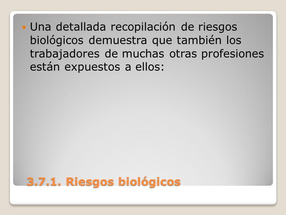 3.7.1. Riesgos biológicos 3.7.1. Riesgos biológicos Una detallada recopilación de riesgos biológicos demuestra que también los trabajadores de muchas