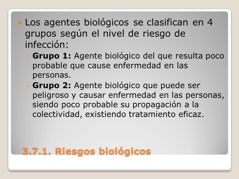 3.7.1. Riesgos biológicos 3.7.1. Riesgos biológicos Los agentes biológicos se clasifican en 4 grupos según el nivel de riesgo de infección: Grupo 1: A