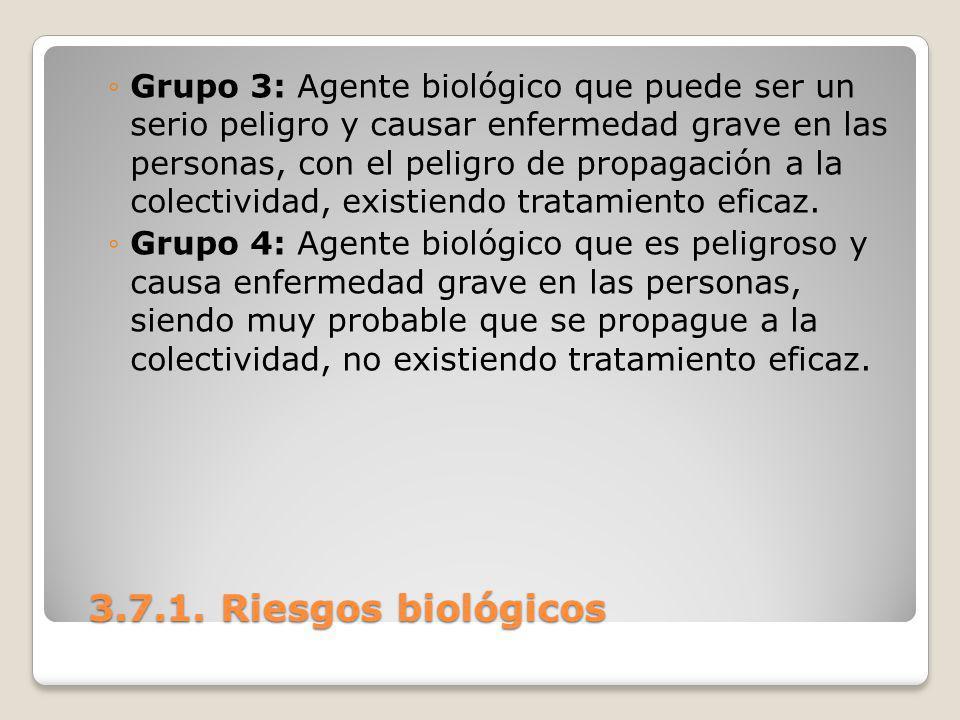 3.7.1. Riesgos biológicos 3.7.1. Riesgos biológicos Grupo 3: Agente biológico que puede ser un serio peligro y causar enfermedad grave en las personas