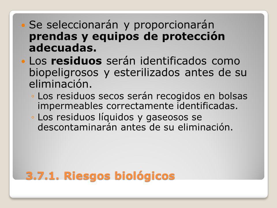 3.7.1. Riesgos biológicos 3.7.1. Riesgos biológicos Se seleccionarán y proporcionarán prendas y equipos de protección adecuadas. Los residuos serán id