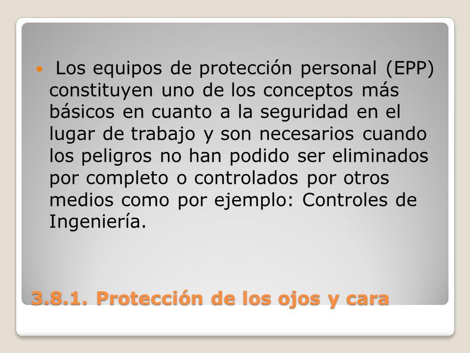 3.8.1. Protección de los ojos y cara Los equipos de protección personal (EPP) constituyen uno de los conceptos más básicos en cuanto a la seguridad en