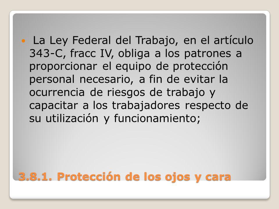 3.8.1. Protección de los ojos y cara La Ley Federal del Trabajo, en el artículo 343-C, fracc IV, obliga a los patrones a proporcionar el equipo de pro