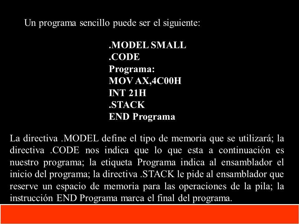 1-13 Copyright © Oracle Corporation, 2001. All rights reserved. Un programa sencillo puede ser el siguiente:.MODEL SMALL.CODE Programa: MOV AX,4C00H I