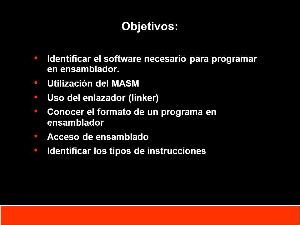 1-2 Copyright © Oracle Corporation, 2001. All rights reserved. Objetivos: Identificar el software necesario para programar en ensamblador. Utilización