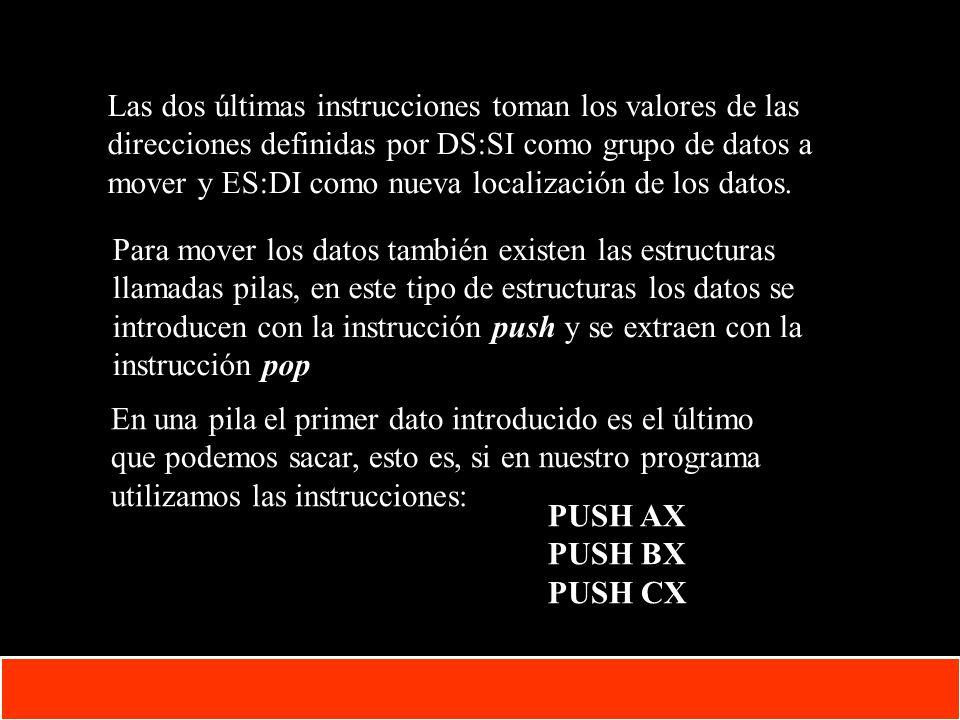 1-22 Copyright © Oracle Corporation, 2001. All rights reserved. Las dos últimas instrucciones toman los valores de las direcciones definidas por DS:SI