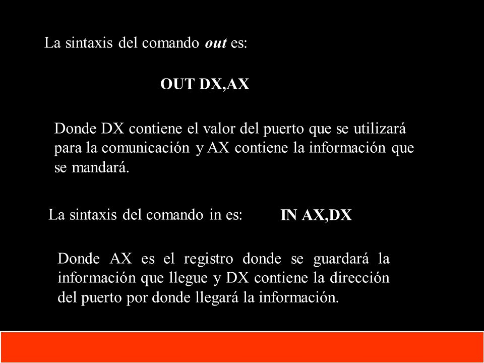 1-24 Copyright © Oracle Corporation, 2001. All rights reserved. La sintaxis del comando out es: OUT DX,AX Donde DX contiene el valor del puerto que se
