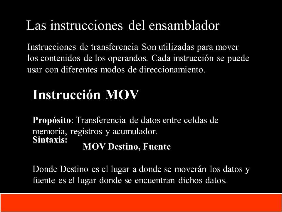 1-29 Copyright © Oracle Corporation, 2001. All rights reserved. Las instrucciones del ensamblador Instrucciones de transferencia Son utilizadas para m