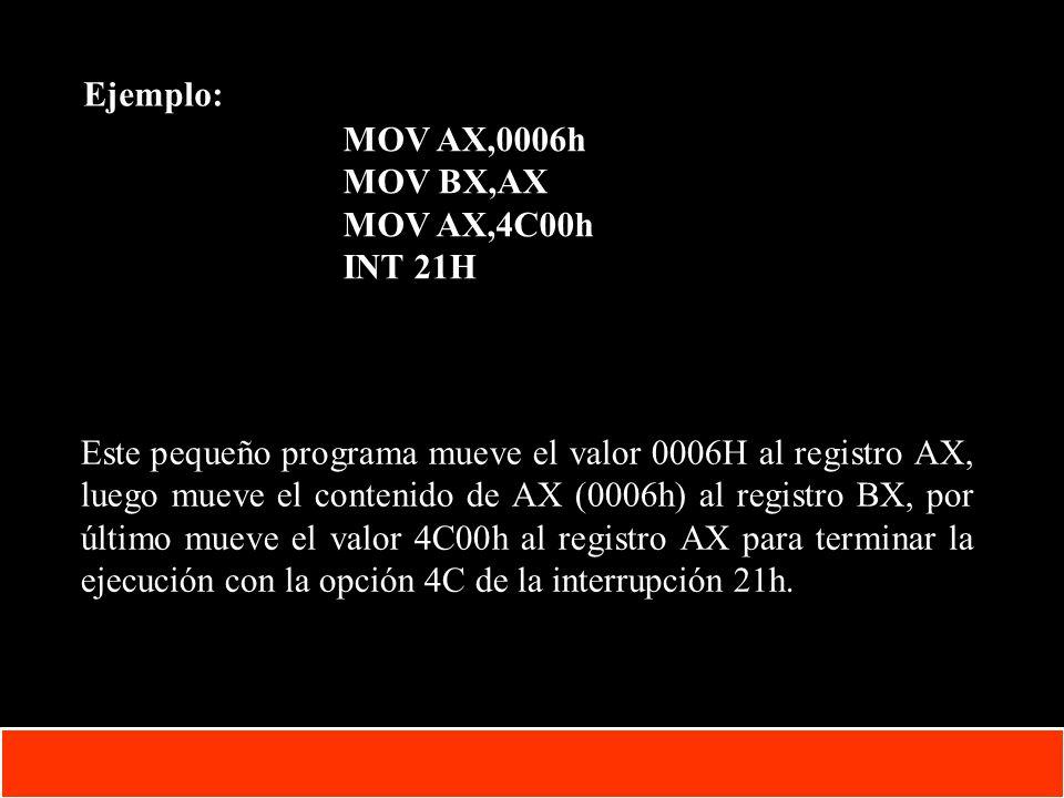 1-31 Copyright © Oracle Corporation, 2001. All rights reserved. Ejemplo: MOV AX,0006h MOV BX,AX MOV AX,4C00h INT 21H Este pequeño programa mueve el va