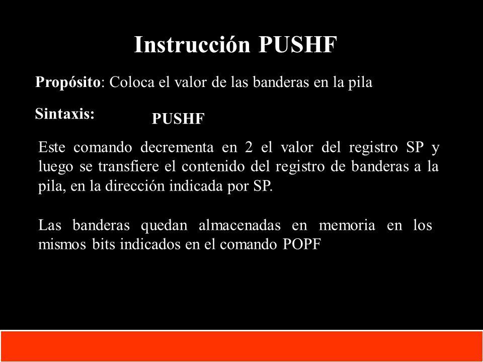 1-42 Copyright © Oracle Corporation, 2001. All rights reserved. Instrucción PUSHF Propósito: Coloca el valor de las banderas en la pila Sintaxis: PUSH