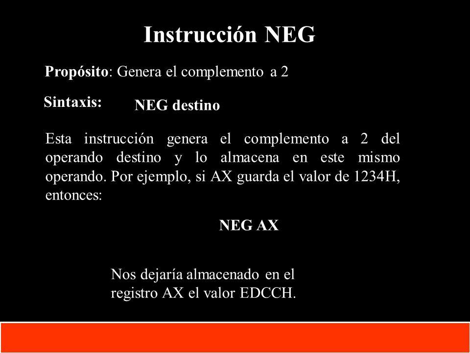 1-44 Copyright © Oracle Corporation, 2001. All rights reserved. Instrucción NEG Propósito: Genera el complemento a 2 Sintaxis: NEG destino Esta instru