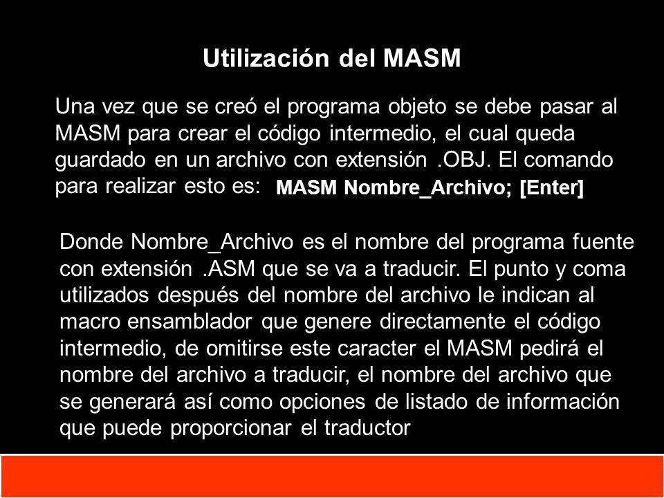 1-5 Copyright © Oracle Corporation, 2001. All rights reserved. Utilización del MASM MASM Nombre_Archivo; [Enter] Una vez que se creó el programa objet