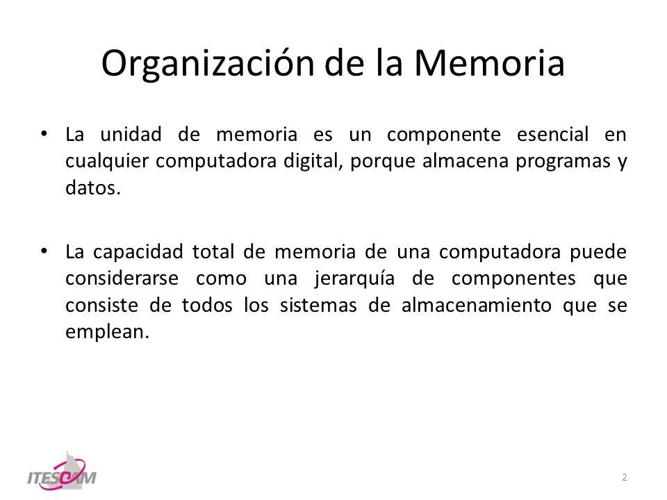 Organización de la Memoria La unidad de memoria es un componente esencial en cualquier computadora digital, porque almacena programas y datos. La capa