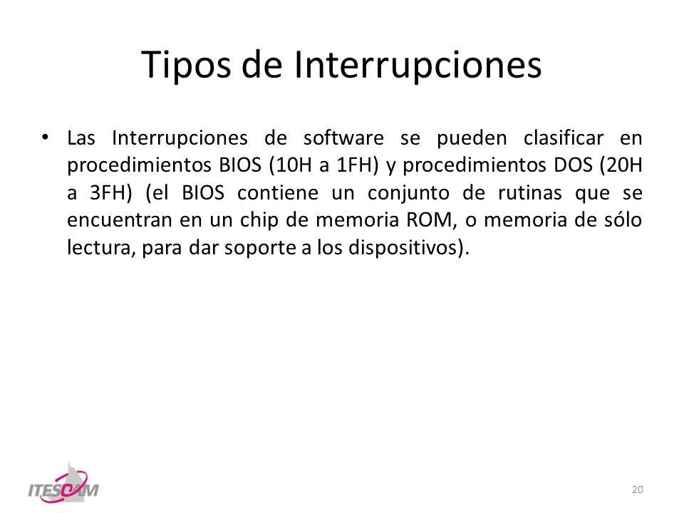 Tipos de Interrupciones Las Interrupciones de software se pueden clasificar en procedimientos BIOS (10H a 1FH) y procedimientos DOS (20H a 3FH) (el BI