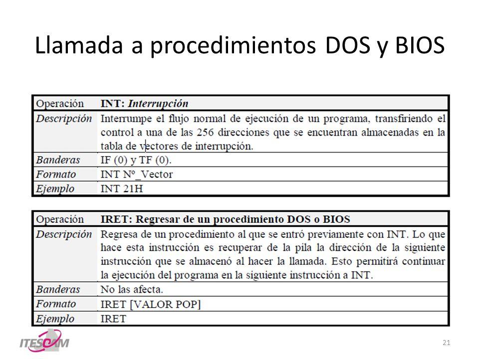 Llamada a procedimientos DOS y BIOS 21