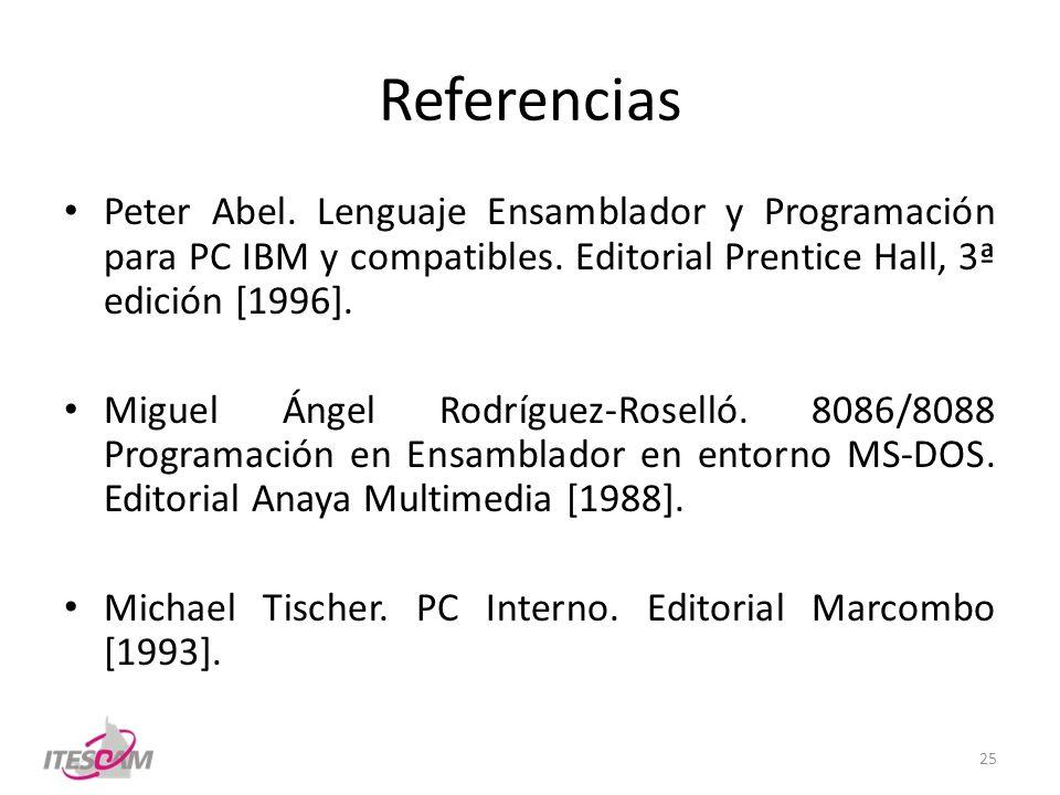 Referencias Peter Abel. Lenguaje Ensamblador y Programación para PC IBM y compatibles. Editorial Prentice Hall, 3ª edición [1996]. Miguel Ángel Rodríg