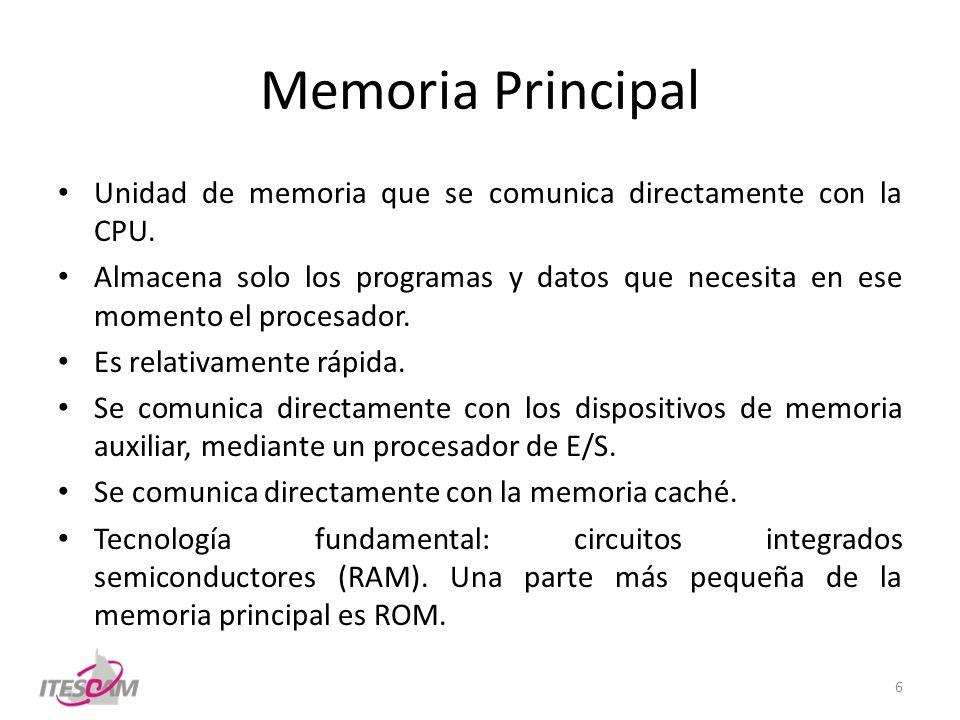Memoria Principal Unidad de memoria que se comunica directamente con la CPU. Almacena solo los programas y datos que necesita en ese momento el proces