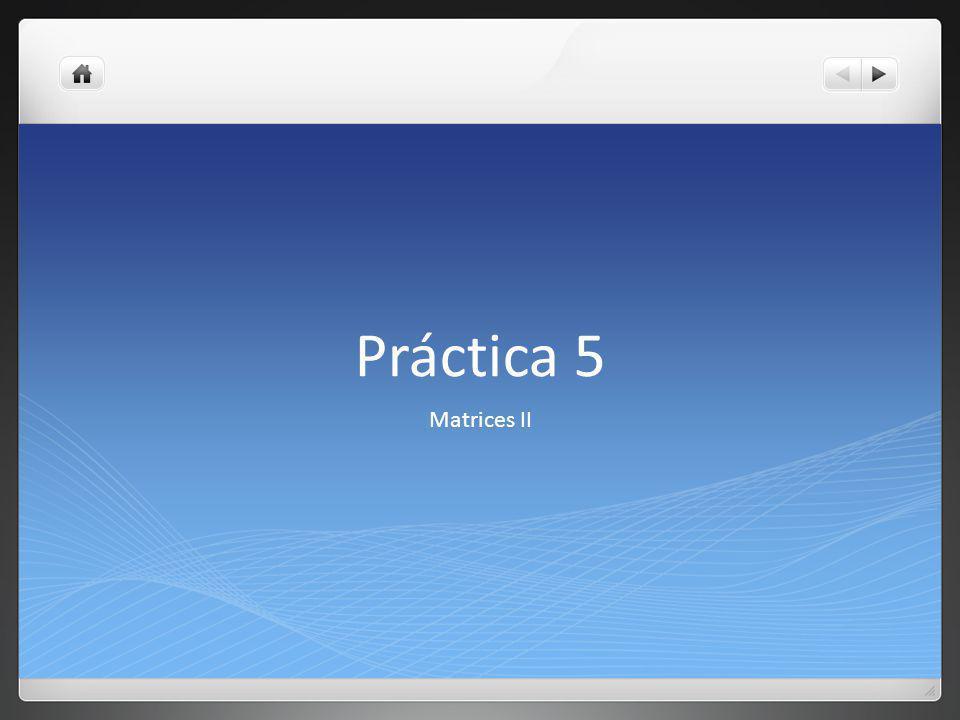 Práctica 5 Matrices II