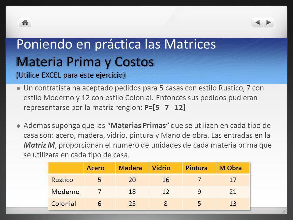 Materia Prima y Costos (Utilice EXCEL para éste ejercicio) Poniendo en práctica las Matrices Materia Prima y Costos (Utilice EXCEL para éste ejercicio
