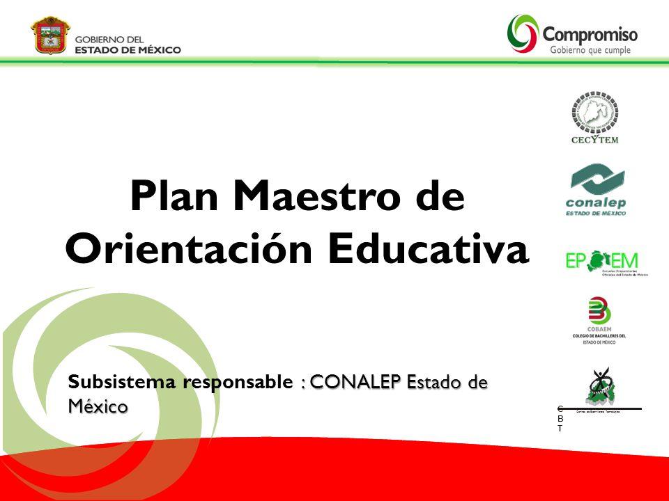 Plan Maestro de Orientación Educativa : CONALEP Estado de México Subsistema responsable : CONALEP Estado de México CBTCBT Centros de Bachillerato Tecn