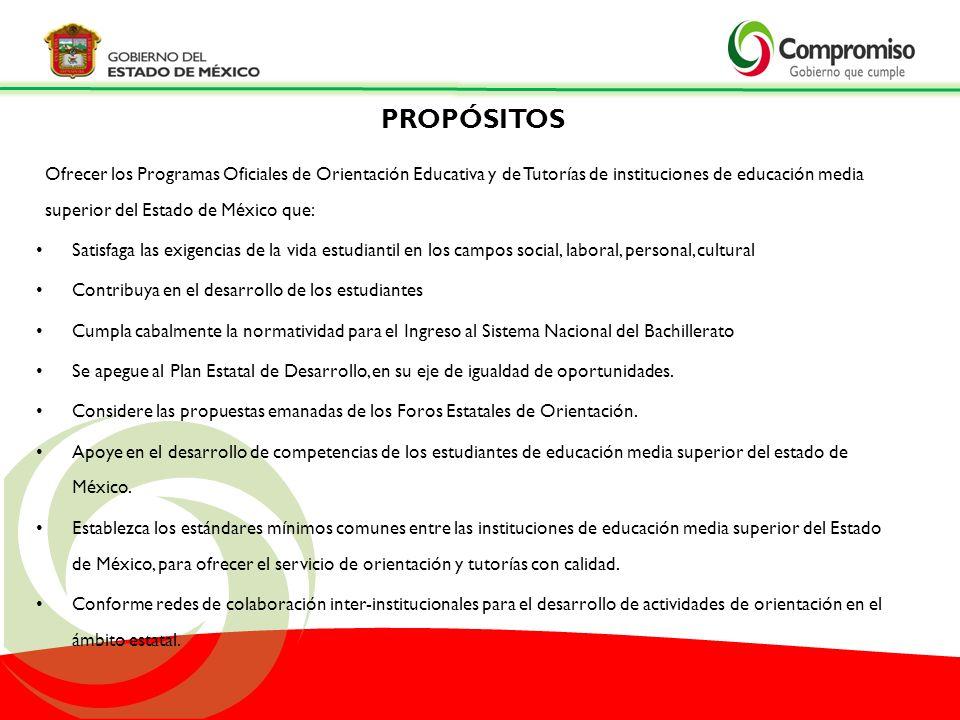 Ofrecer los Programas Oficiales de Orientación Educativa y de Tutorías de instituciones de educación media superior del Estado de México que: Satisfag